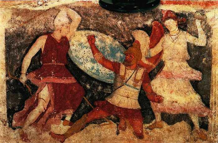 Поединок греческого воина и двух амазонок. Этрусское искусство. Источник: Litvek