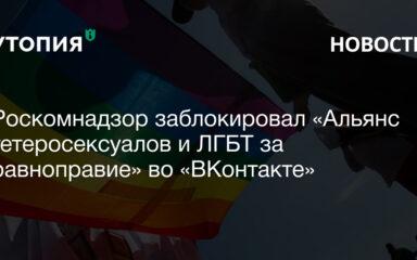 Роскомнадзор заблокировал «Альянс гетеросексуалов и ЛГБТ за равноправие» во «ВКонтакте»